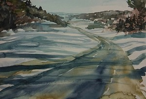 "COURTESY OF WALKOVER GALLERY - ""Snowbound,"" watercolor by Linda Reynolds"