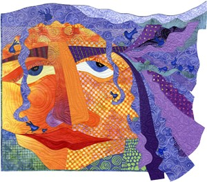 "COURTESY OF COMPASS MUSIC & ARTS CENTER - ""The Girl With the Purple Hair"" quilt by Judith Reilly"