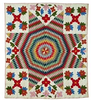 COURTESY OF THE SHELBURNE MUSEUM - Appliqué and pieced Star of Bethlehem quilt, unknown maker