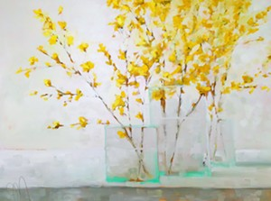 """COURTESY OF EDGEWATER GALLERY - """"Three Forsythias,"""" oil painting by Jill Matthews"""