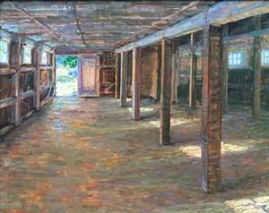 "COURTESY OF BRYAN MEMORIAL GALLERY - ""Codman Barn Interior"" by Leo Mancini-Hresko"