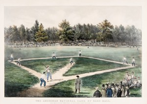 """COURTESY OF SHELBURNE MUSEUM/JOSLYN MUSEUM - """"American National Game of Baseball"""" by Currier & Ives"""