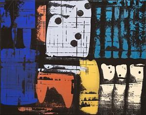"COURTESY OF SANDY'S BOOKS & BAKERY - ""Domino,"" acrylic on canvas by Harrington"