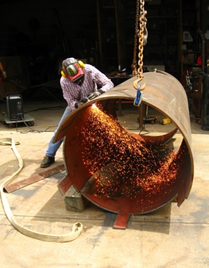 """COURTESY OF HENRY SHELDON MUSEUM - """"Watercourse Way"""" sculpture fabrication by Kate Pond"""