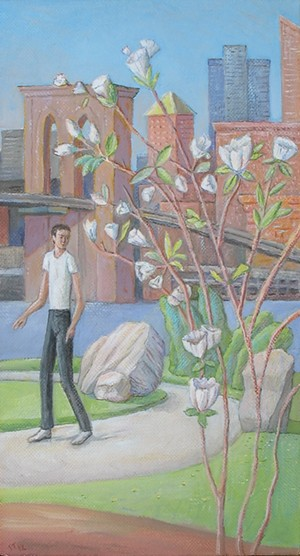 """COURTESY OF SAM THURSTON - """"Man in Brooklyn Bridge Park"""" by Sam Thurston, in response to poem """"A Bridge Too Far"""" by Terry-Anya Hayes"""