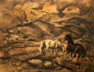 """COURTESY OF BRYAN MEMORIAL GALLERY - """"California Horses,"""" watercolor by Robert Blair"""