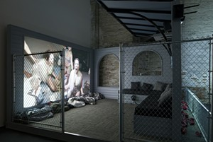 "COURTESY OF MONTREAL MUSEUM OF CONTEMPORARY ART - Installation image of ""Priority Innfield"" by Lizzie Fitch and Ryan Trecartin"