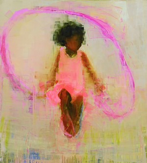 "COURTESY OF EDGEWATER GALLERY - ""Jump (Pink on Pink),"" painting by Rebecca Kinkead"