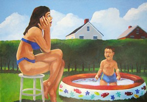 "COURTESY OF S.P.A.C.E. GALLERY - ""Hot Day,"" painting by Robert Waldo Brunelle Jr."