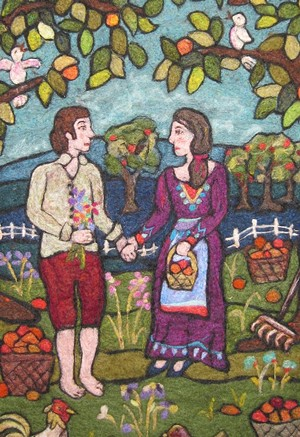 """COURTESY OF NEYSA RUSSO - """"The Proposal,"""" tapestry by Neysa Russo"""