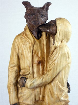 "COURTESY OF WEST BRANCH GALLERY & SCULPTURE PARK - ""Cedar Street Fox Couple,"" sculpture by Joseph Lupiani"