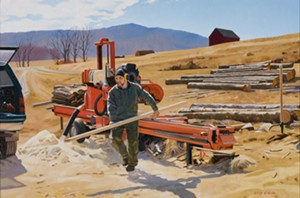 "COURTESY OF VERMONT SUPREME COURT GALLERY - ""Logs to Lumber,"" oil painting by Kathleen Kolb"