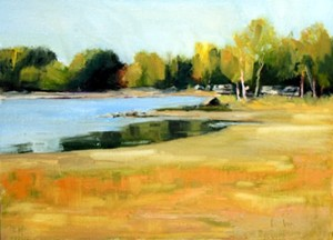 "COURTESY OF EMILE A. GRUPPE GALLERY - ""Maurie's Beach"" by Susan Larkin"