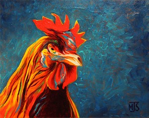 "COURTESY OF T.W. WOOD GALLERY - ""Rooster,"" painting by Michael Strauss"