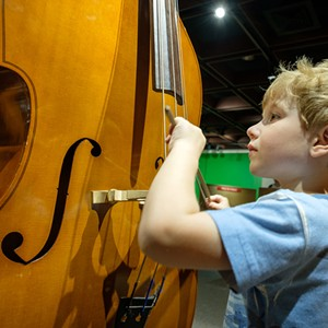 COURTESY OF MONTSHIRE MUSEUM - Visitor with double bass