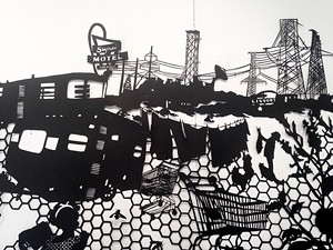"COURTESY OF BURLINGTON CITY ARTS - Detail of ""Atomic City"" by Molly Bosley"