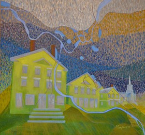 "COURTESY OF FURCHGOTT SOURDIFFE GALLERY - ""Shadow of the Winooski – Waterbury, Vermont"" by Carolyn Enz Hack"