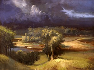 "COURTESY OF BRYAN MEMORIAL GALLERY - ""Storm Over Jeffersonville"" by Frank Mason"