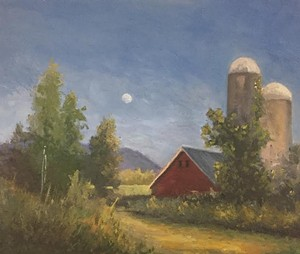 "COURTESY OF ESSEX ART LEAGUE - ""Moonrise Before Sunset"" by Fiona Cooper Fenwick"