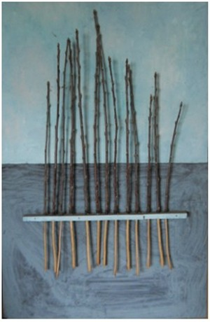 COURTESY OF WHITE WATER GALLERY - Untitled acrylic and mixed media work by Don Sunseri