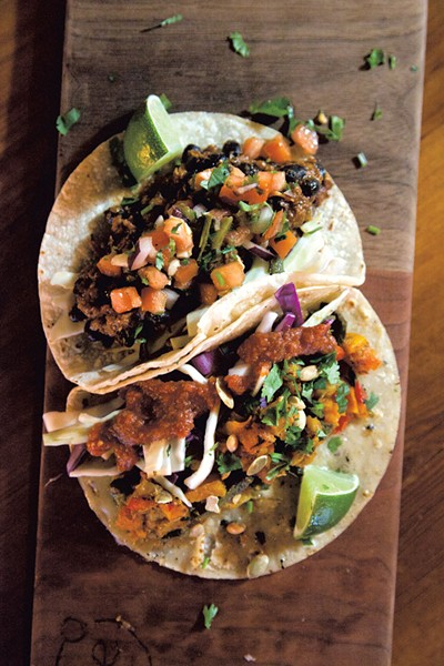 Veggie and black bean tacos at Citizen Cider - MATTHEW THORSEN