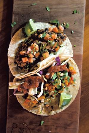 Veggie and black bean tacos at Citizen Cider - MATTHEW THORSEN