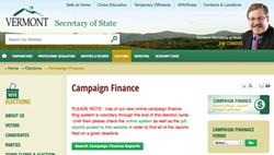 Vermont secretary of state's website - SCREENSHOT