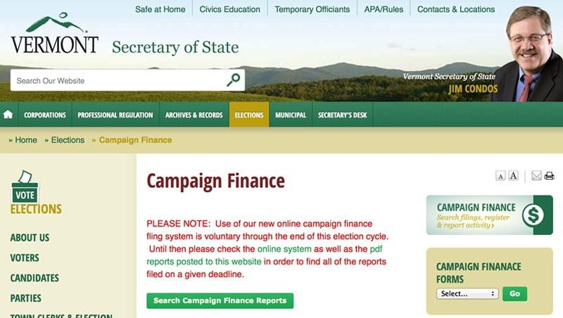Vermont secretary of state's website