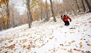 Vermonter Brennan Severance enjoys the rare experience of skiing on snow covered with leaves in Vermont's Mad River Valley.