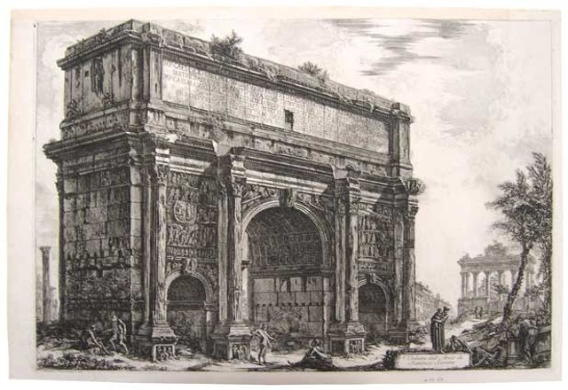 """View of the Arch of Septimus Severus,"" Giovanni Battista Piranesi"