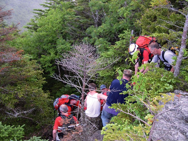 Waterbury Backcountry Rescue Team performs a rescue on Camel's Hump this summer