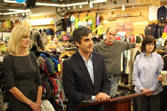 Mayor Miro Weinberger at a November 2014 press conference at Burlington's Outdoor Gear Exchange - FILE: PAUL HEINTZ