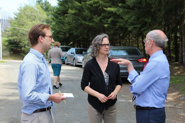 Tricia Coates with WCAX's Kyle Midura and Congressman Peter Welch last May in Waterbury - PAUL HEINTZ