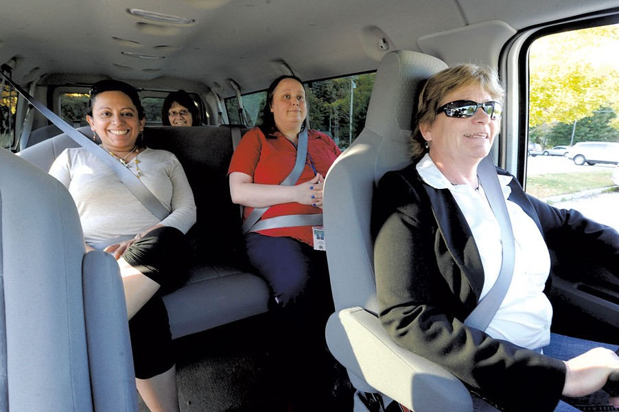 Wendy Edwards, right, drives a vanpool with Alma Greene, Jane Lolax and Laura Callahan - JEB WALLACE-BRODEUR