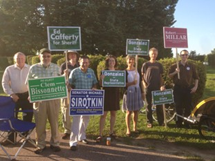 Winooski House candidates at the polls on Tuesday morning - CATHY RESMER