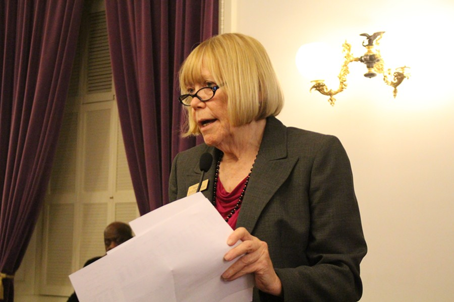 Rep. Jean O'Sullivan speaks to the House Democratic Caucus Thursday about an amendment to the tax bill. - PAUL HEINTZ