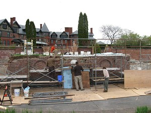 Work on the garden wall, 2010