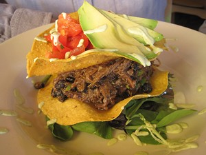 ALICE LEVITT - Yellow Corn Tostada with Braised Short Rib at 3 Squares in Vergennes