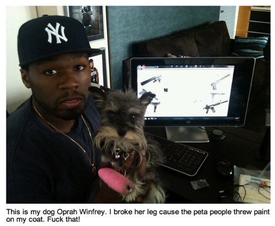 50 Cent, animal lover. - HTTP://TWITPIC.COM/2QDRUT