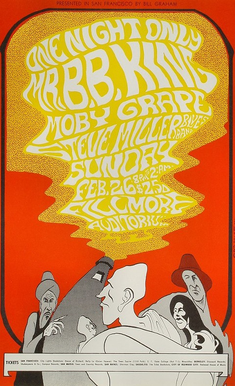 A Bill Graham flier for B.B. King's Fillmore concert. $2.50
