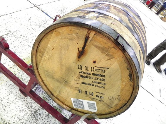 A Buffalo Trace bourbon barrel, future home of a distillate made from blends of Jewbelation beer. - JASON HENRY