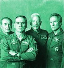 KEN  REGAN - A Damn Fine Movie: Garner, Jones, Sutherland, and Eastwood in Space Cowboys.