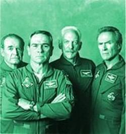 KEN  REGAN - A Damn Fine Movie: Garner, Jones, Sutherland, and Eastwood in Space Cowboys.