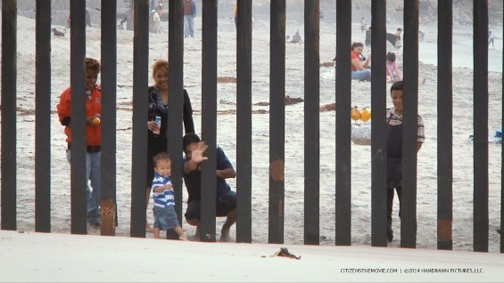 A family hanging out by the border between Mexico and the U.S. - HANDRAWN PICTURES