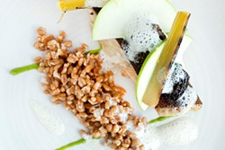 LARA HATA - A filet of black cod served with buttery faro, accented by leeks and morels.