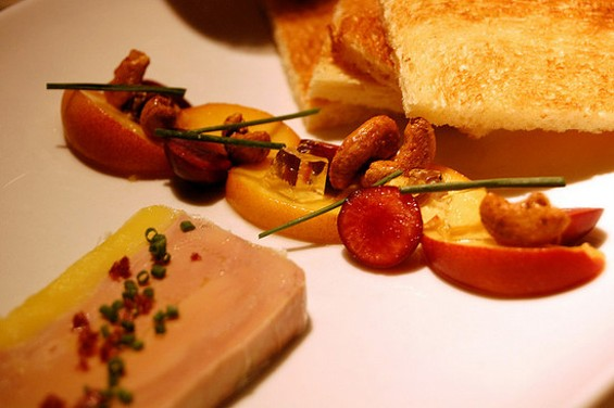 A foie gras terrine with toasted brioche and figs from Jardinière. - MHAITHACA/FLICKR
