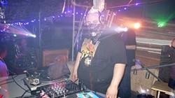 A gabber DJ at an underground Oakland party.