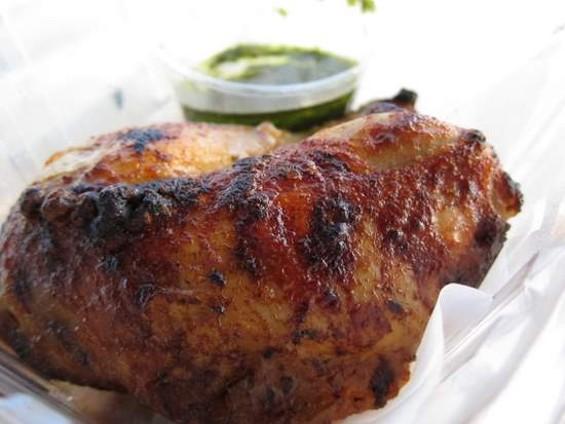 Roostertail's rotisserie chicken with salsa verde. - JONATHAN KAUFFMAN