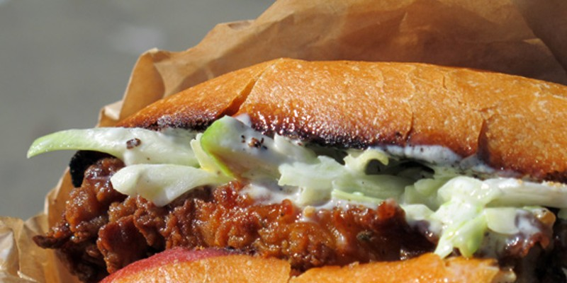 10 Great Food Truck Sandwiches Brass Knuckle: The Fryin Maiden sandwich features juicy fried chicken breast with a spicy crust and a touch of apple-jalapeo slaw that completes the presentation of this rock 'n' roll themed sammy.