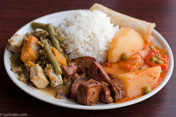 "A lunch plate at No Worries featuring afritada made with soy ""chicken."" - JUN BELEN"